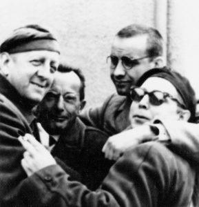 DEFA-Crew: Erwin Geschonneck, Bruno Apitz, Armin Mueller-Stahl und Fred Delmare (v. l. n. r.), 1962; Quelle: Privatbesitz Marlis Apitz