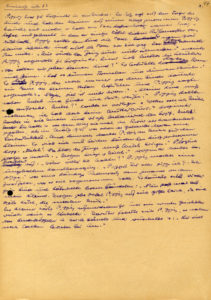 """Manuskriptseite von """"Nackt unter Wölfen"""" mit dem bekannten Ausspruch """"Pippst Du oder pipp ich? – Ich pippe."""", entstanden in den ersten Monaten des Jahres 1955. (Quelle: Quelle: Akademie der Künste, Berlin, Bruno-Apitz-Archiv, Nr. 6)"""