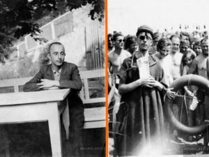 """Links: Bruno Apitz während der """"Schutzhaft"""" im KZ Colditz, Mai/Juni 1933 Rechts:  Bruno Apitz, verdeckt als Neptun, während einer Agitprop-Aktion an den Lübschützer Teichen bei Leipzig, 1933; Quelle: Privatbesitz Marlis Apitz"""